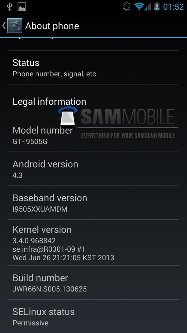 Samsung Galaxy S4 Google Edition Android 4.3 2