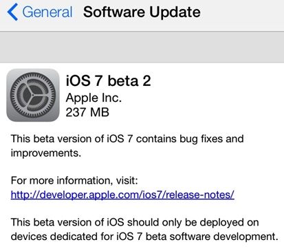 iOS 7 Beta 2 gelistirici