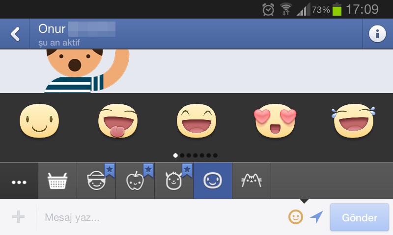 Android Facebook Messenger uygulaması cikartmalar