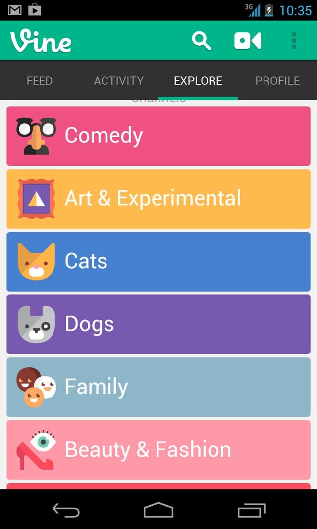 android vine video kategori
