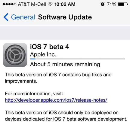 iOS 7 Beta 4 ekran
