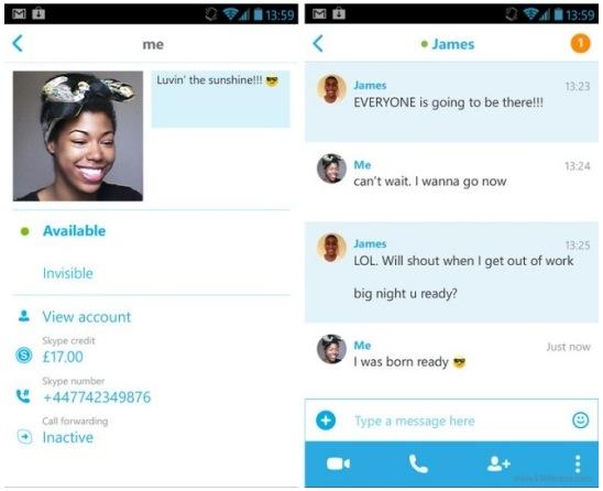 skype android uygulamasi