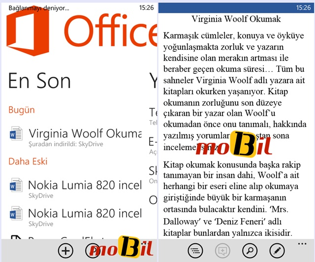 Nokia Lumia 520 office word