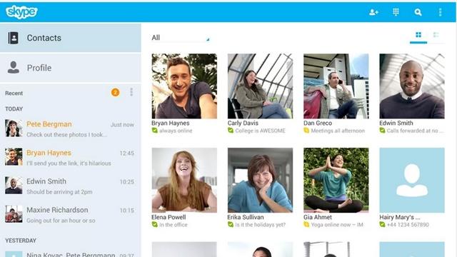skype android uygulama