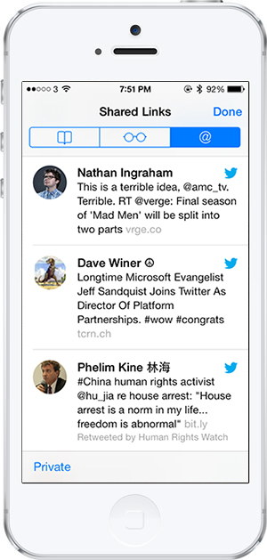 iOS 7 -4- Safari Twitter