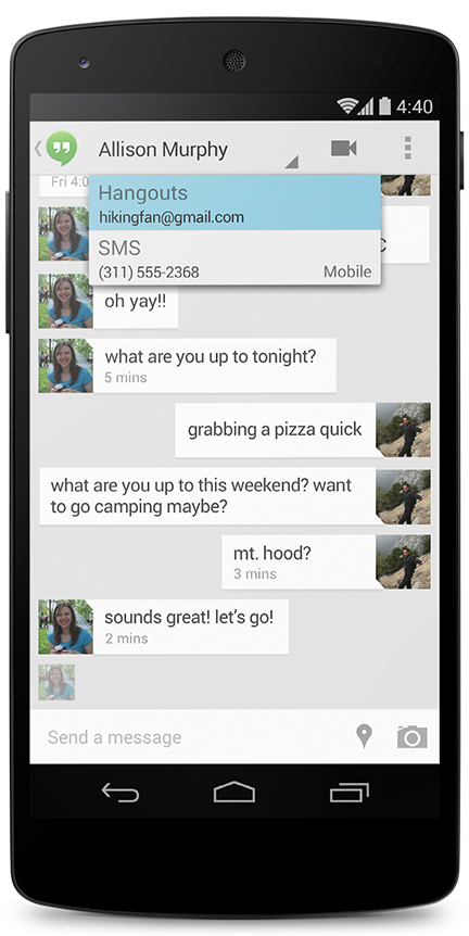android 4.4 kitkat hangout sms