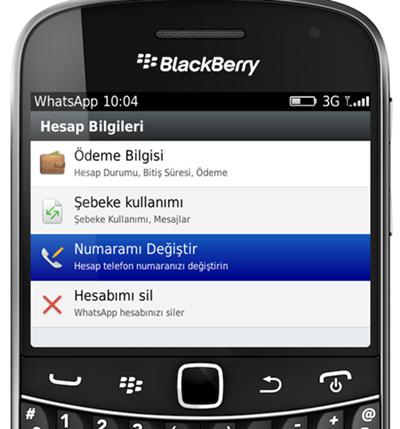whatsapp numara degistir