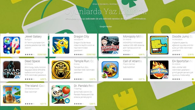 Android Oyunlarda Google Play Yaz İndirimi