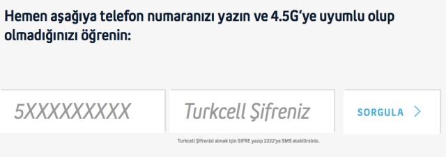 turkcell 4.5G uyumlu SIM kart sorgulama