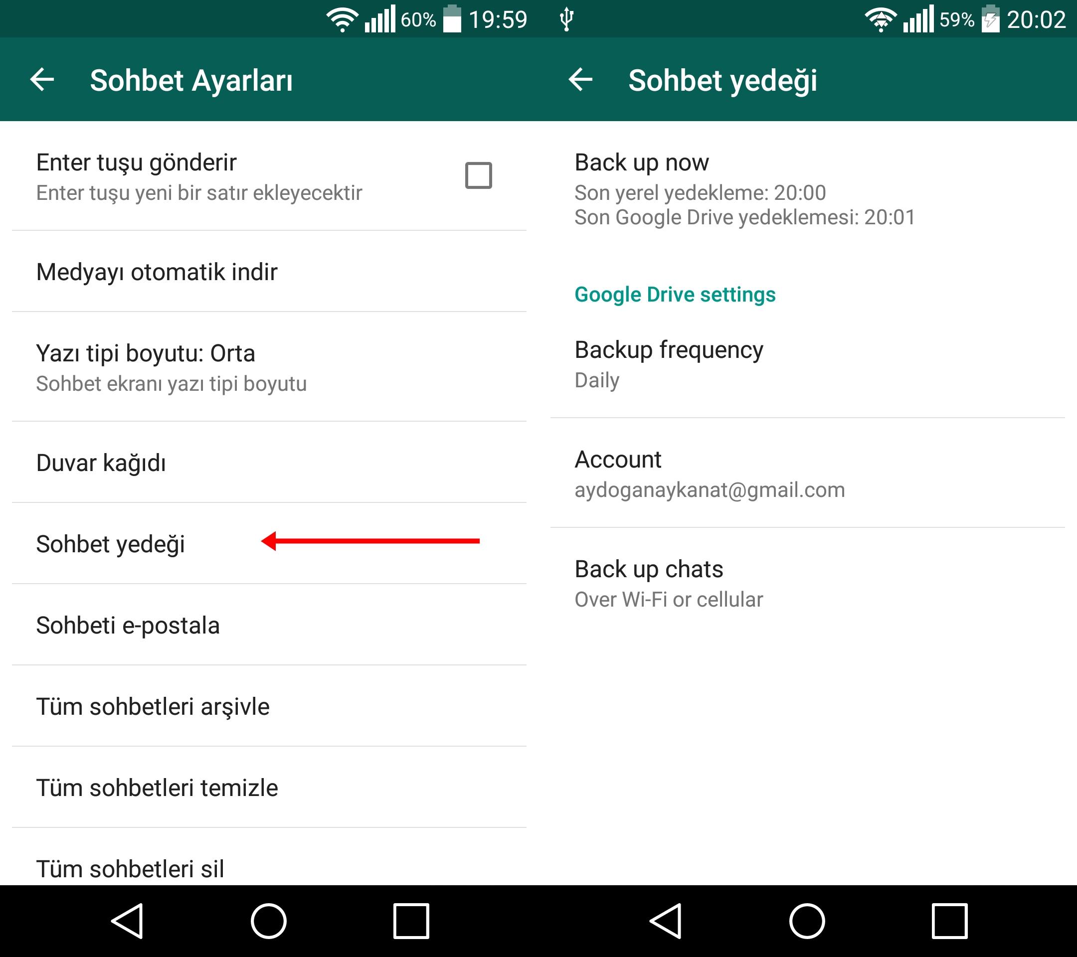 Android işletim sistemleri telefonlarda WhatsApp yedeklerini geri yükleme